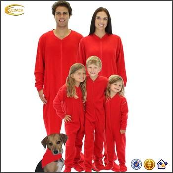 05659b2c57 2016 manufacturer Family Matching Red Fleece Footed Pajamas front zipper  side pockets custom logo lounge sleepwear