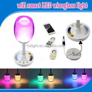 Smart wine cup design usb charge table lamp bulb, RGB color changing handy bulb stickup light bulb