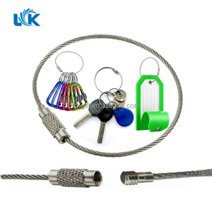 Wire Dia1.5mm/2mm Custom Lengths Stainless Steel Screw Locking Wire Cable Key Ring