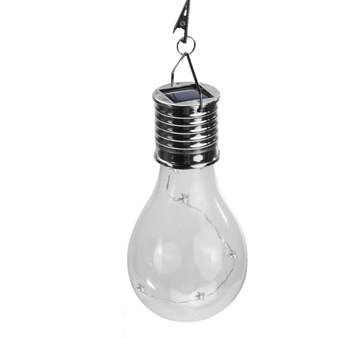 Weite Hanging LED Light Lamp,Waterproof Solar Star Pendant Lamp with Copper Wire Light Bulb for Patio Garden Camping Party Decoration (Multi Color)