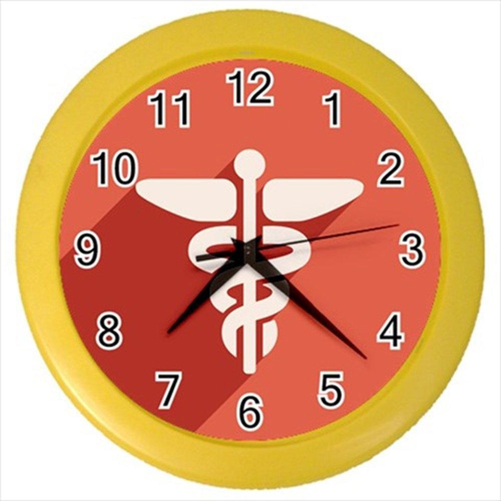 Kidozooo Caduceus Medical Icon Wall Clock (Yellow)