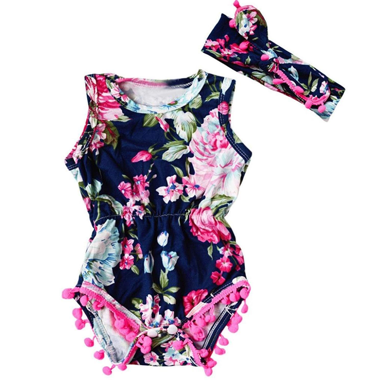 JPOQW Newborn Infant Toddler Baby Girls Floral Floral Bodysuit Romper 2PCS/Set