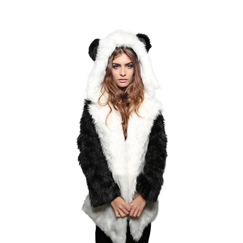 3f82242424f83 Get Quotations · DMZing Women s Winter Warm Rabbit Ears Long Sleeve Fluffy  Faux Fur Hood Outwear Jacket Coat