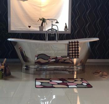 Pedestal Freestanding Antique Cast Iron Bathtub With Mirror Finish
