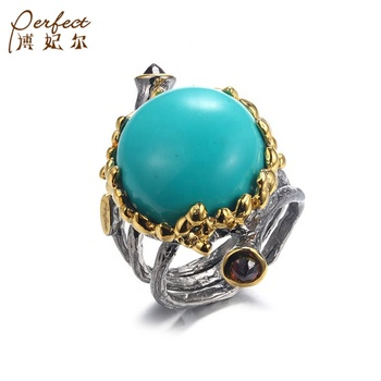 Latest Design Popular Synthetic Turquoise Ring ,Gold Plated Ring Oval Jewelry Factory Price