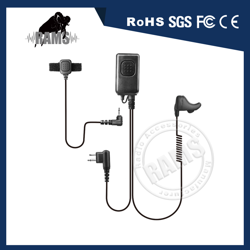 Ear Bone Conduction Headset with finger PTT microphone for SWAT communications
