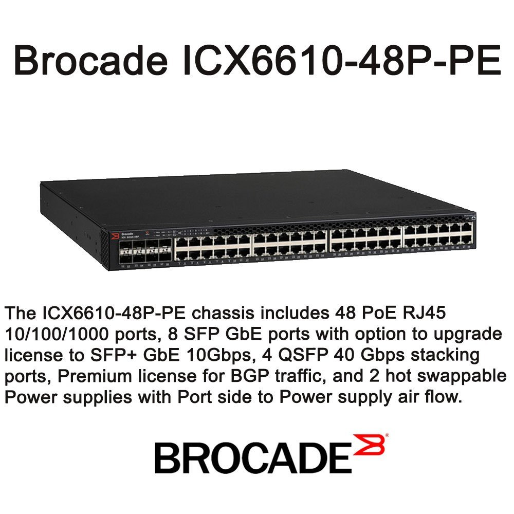 """Brocade, Icx 6610-48P Switch L3 Managed 48 X 10/100/1000 (Poe+) Desktop, Rack-Mountable Poe+ """"Product Category: Networking/Lan Hubs & Switches"""""""