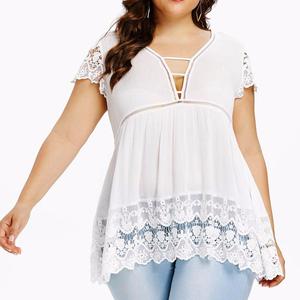 New cotton wrinkle stitching lace dress large size women's shirt