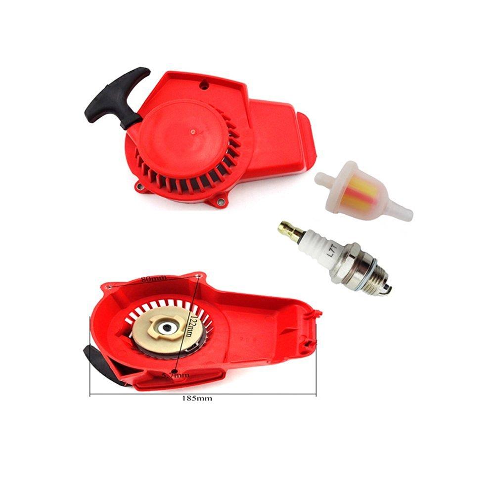 Red Pull Recoil Starter Fuel Filter For 49cc Mini Dirt Pocket Bike Spark Plug