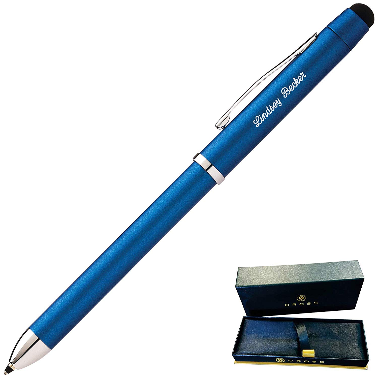 Dayspring Pens - Engraved/Personalized Cross Tech3+ Metallic Blue Multifunction Pen AT0090-8. Custom Engraving Included!