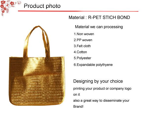 Custom high grade reusable bags Glossy golden color shopping bags