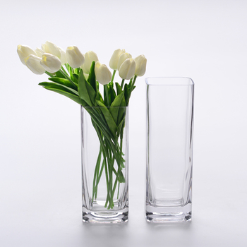 2017 New Design Tall Cubic Clear Rectangular Glass Vase For Wedding