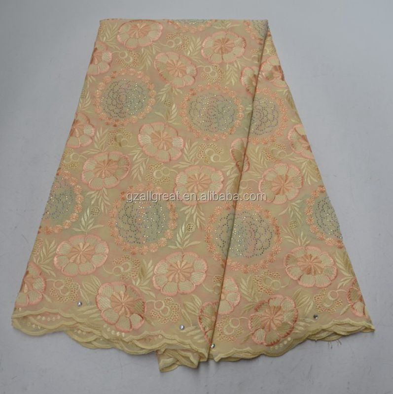 AG7194  Hot sales 100% cotton swiss lace fabric with stones voile lace for cloths