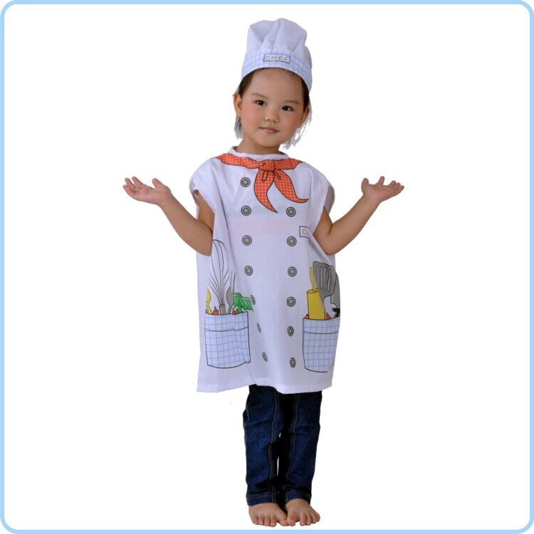 7000964-Halloween Party Little Cooking Chef Vest Top Hat Dress Up Kids Unisex Costume