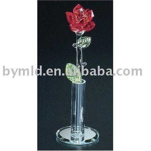 cristal du monde longue tige rose en vase artisanat en crystal id de produit 297519106