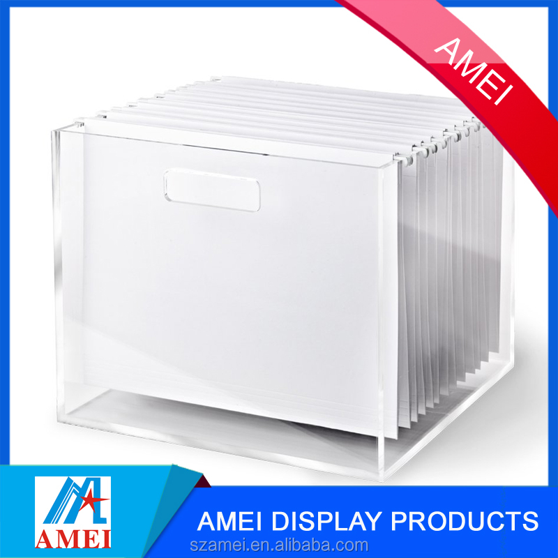 2017 clear Organized durable Acrylic file box for office