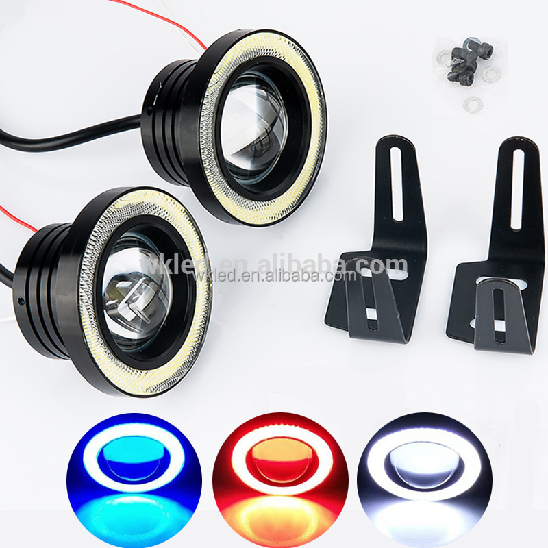 "2x High Power 10W Car 3.5"" Projector White LED Fog Light Lamps w/ Ice Blue COB Halo Angel Eye Ring Set"