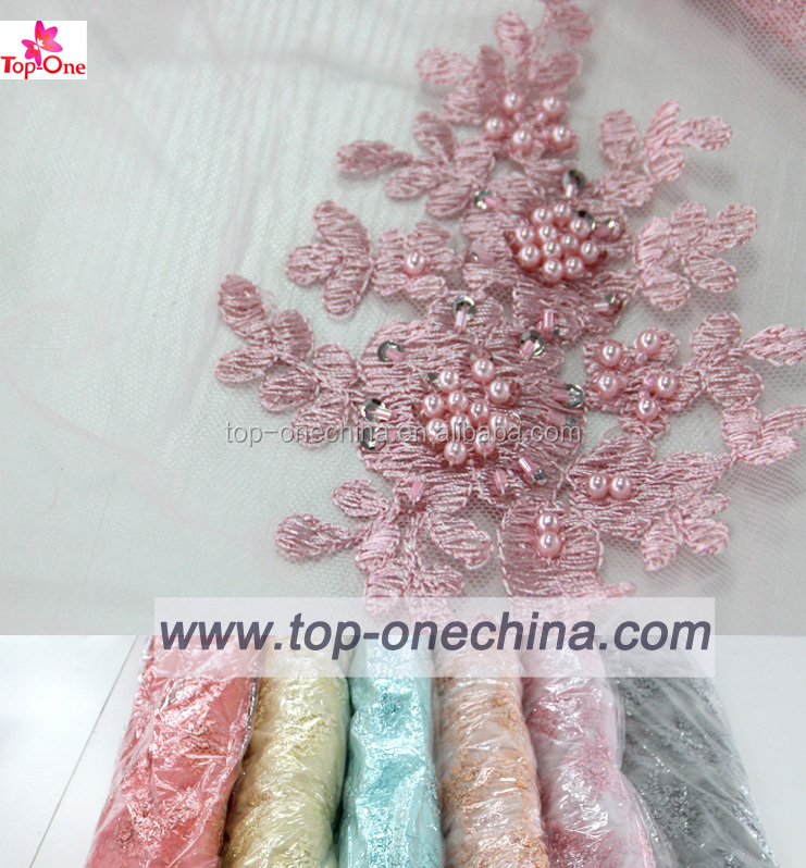 2016 embroidery lace fabric/ beaed french lace/ wedding dress sequins