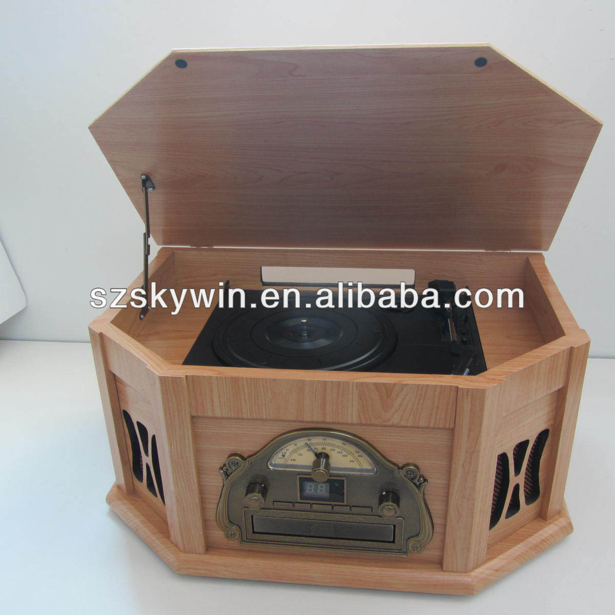 Retro wooden cd jukebox wooden gramophone player with CD player