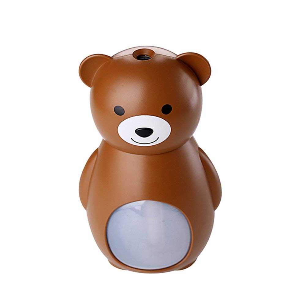 ABS Cute Bear Shape Portable 160ML Mini USB Humidifier Vehicle-Mounted Cool Mist High-Frequency Ultrasonic Atomization Air Diffuser Best Gift for Bedroom Home Room Office Car Baby and Kids (Brown)