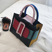 British Fashion Women Designer Handbag 2019 New Tote Bag PU Leather Women bag Lattice Chain Tote Shoulder Crossbody Bags
