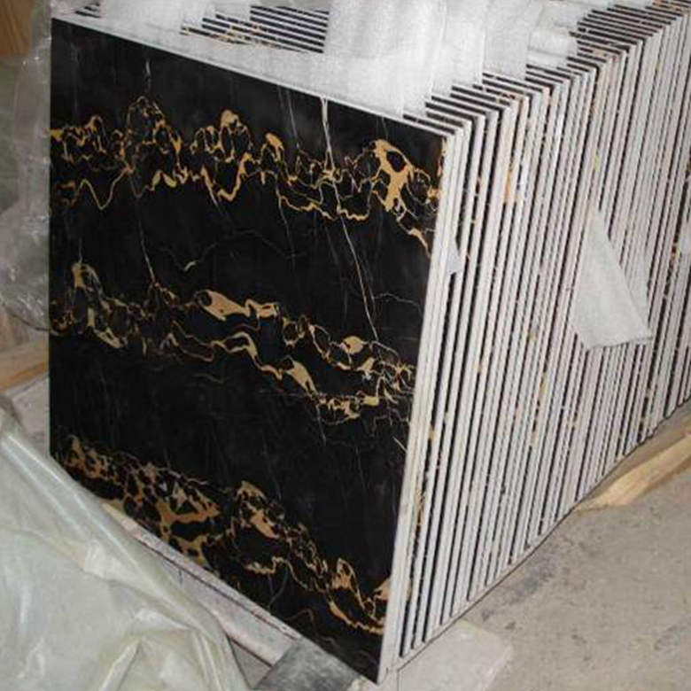 Stone products supply cheap price marble block black golden flowers floor tile