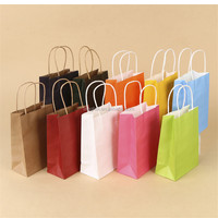 Fancy customized gift flat handle colorful craft kraft paper bag/Die cut handle brown kraft paper bag for gift packaging