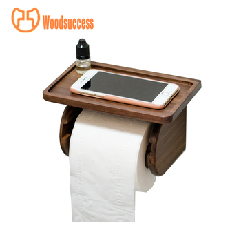 New Design 100 Handmade Wood Decorative Funny Toilet Paper Holder With Phone Shelf