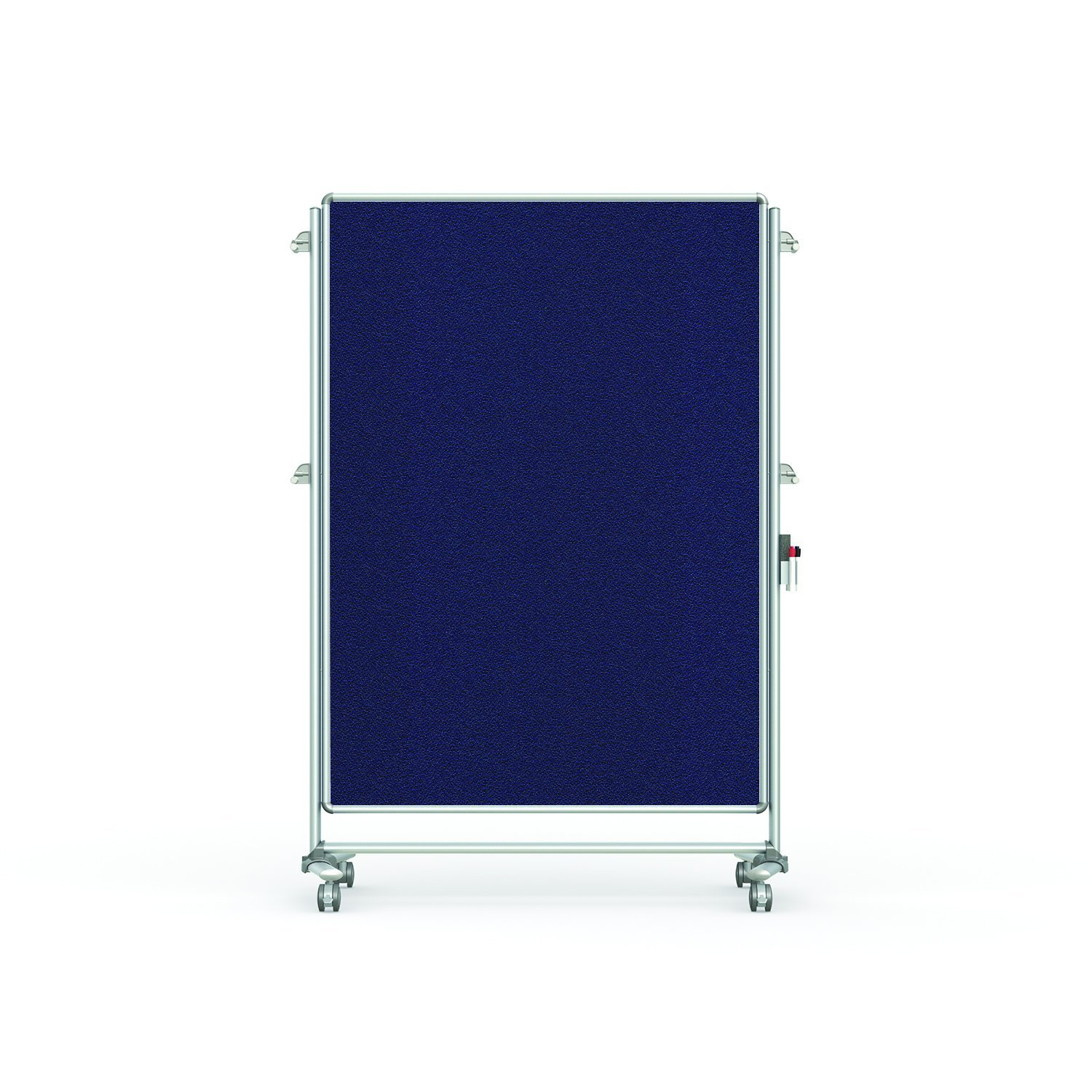 """Ghent 76-1/8"""" x 52-3/8"""" Nexus Partition Mobile Fabric Bulletin Board, Double-Sided, Blue (NEX224FFP-93)"""