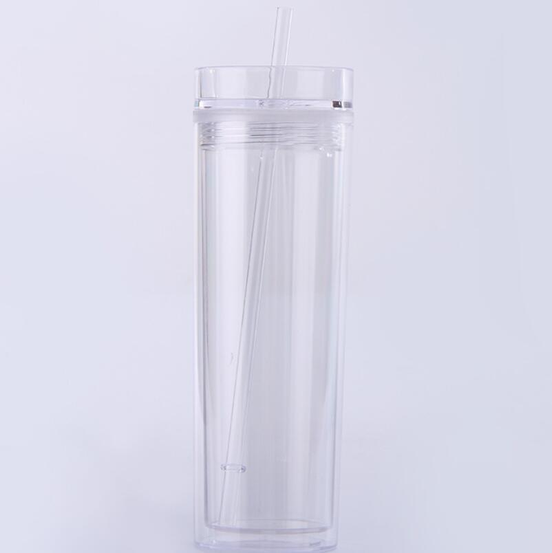 16oz Clear Acrylic Skinny Tumbler with Lid and Straw, Double Wall Skinny Acrylic tumbler, thermos skinny tumbler фото