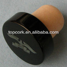 Plated aluminium cap bottle stopper TBE19-30.8-20-10.6-black with silver logo2