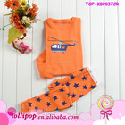 Wholesale Love baby fall orange color kids outfit clothing baby pajamas