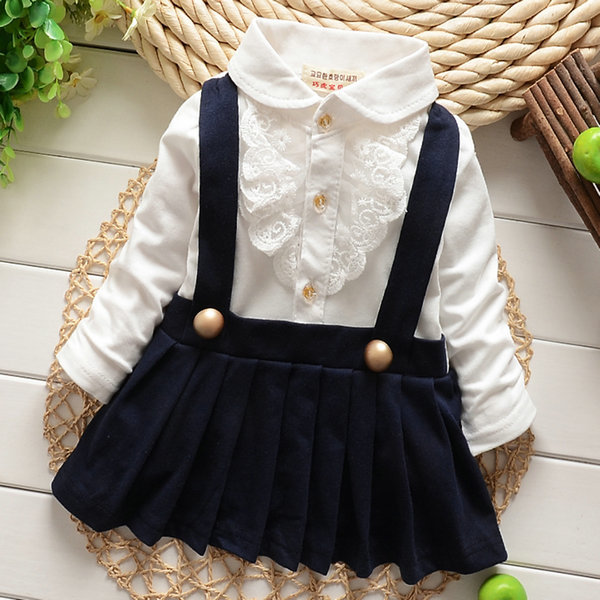 New Children long sleeve dress Girls baby False two lace straps Dress Pleated dress 2colors Hot
