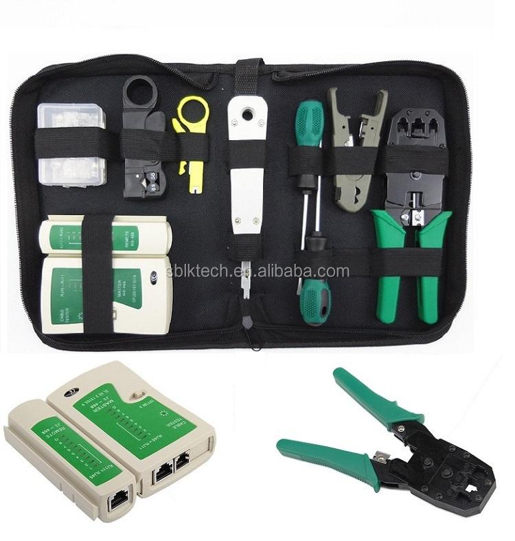 Network Ethernet LAN Kit RJ45 Cat5e Cat6 Cable Tester Crimper Crimping Tools