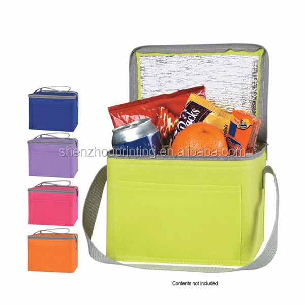 Wholesale customized pocket shoulder strap travel outdoor picnic foldable insulated keep cooling 6 or 12 can drink cooler bag
