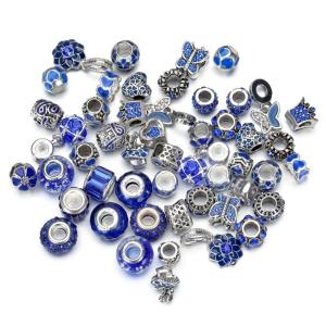New Fashion Sky Blue Colorful Flower Silver Large Hole Murano Glass Beads