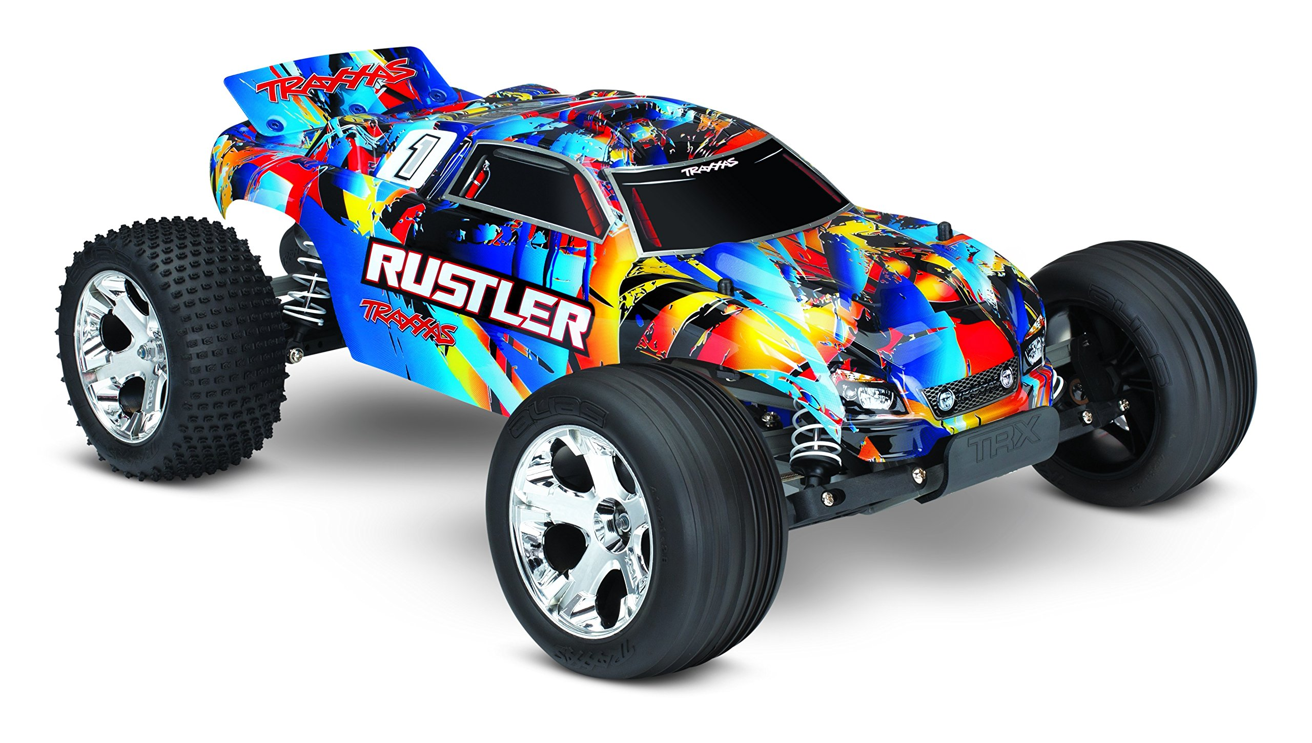Traxxas 370544 Rustler: 1/10 Scale 2WD Stadium Truck with TQ 2.4ghz Radio System Road, Rock n' Roll