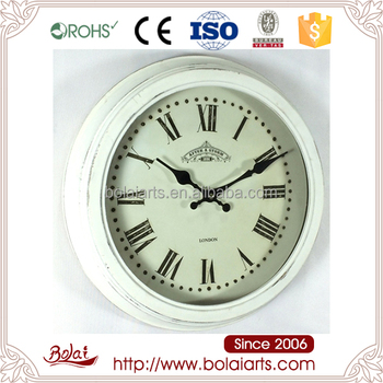 Small White Vintage Frame Hanging Noiseless Wooden Wall Clock For Bed Room