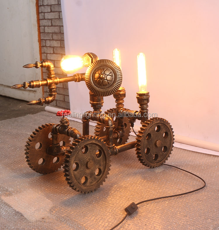 Loft industrial style pipe car shape table lamp with free edison bulb china supplier