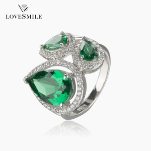 Latest design luxury Customized crystal zircon NANO Green made in china value 925 silver engagement ring