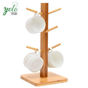 Natural Bamboo Mug Coffee Tea Cup Organizer Holder with 6 Hooks