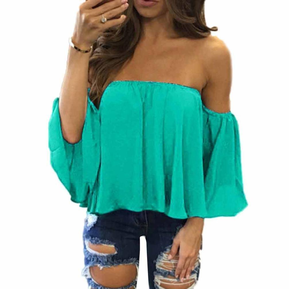 2f9c52078 Get Quotations · Women Chiffon Top Euone Women Long Sleeve Pullover T Shirt  Off Shoulder Casual Blouse (2XL