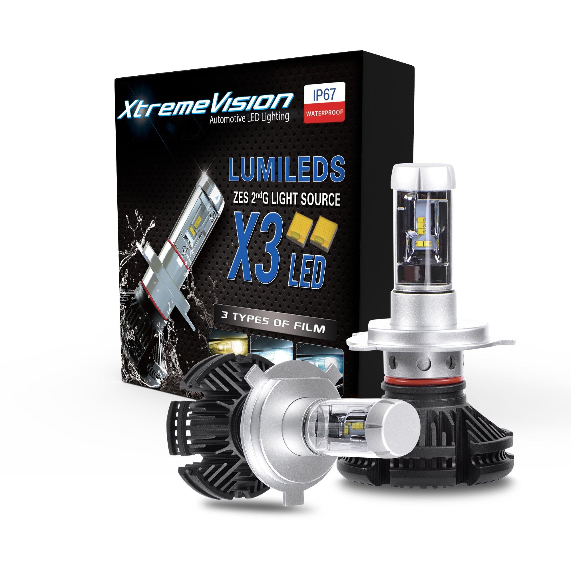 XtremeVision X3 50W 12,000LM - H4/9003 Dual Beam LED Headlight Conversion Kit - 3000K 6500K 8000K PHILIPS ZES LED - 2018 Model