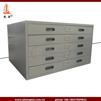 Architectural Plans Engineering Drawings Lockable 5 Drawers Steel Flat Map  Plan Drawing File Cabinet For A3
