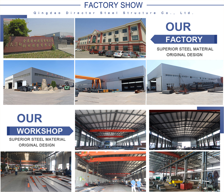 Qingdao wide span metal construction kit warehouse steel structure prefabricated factory with H section roof truss