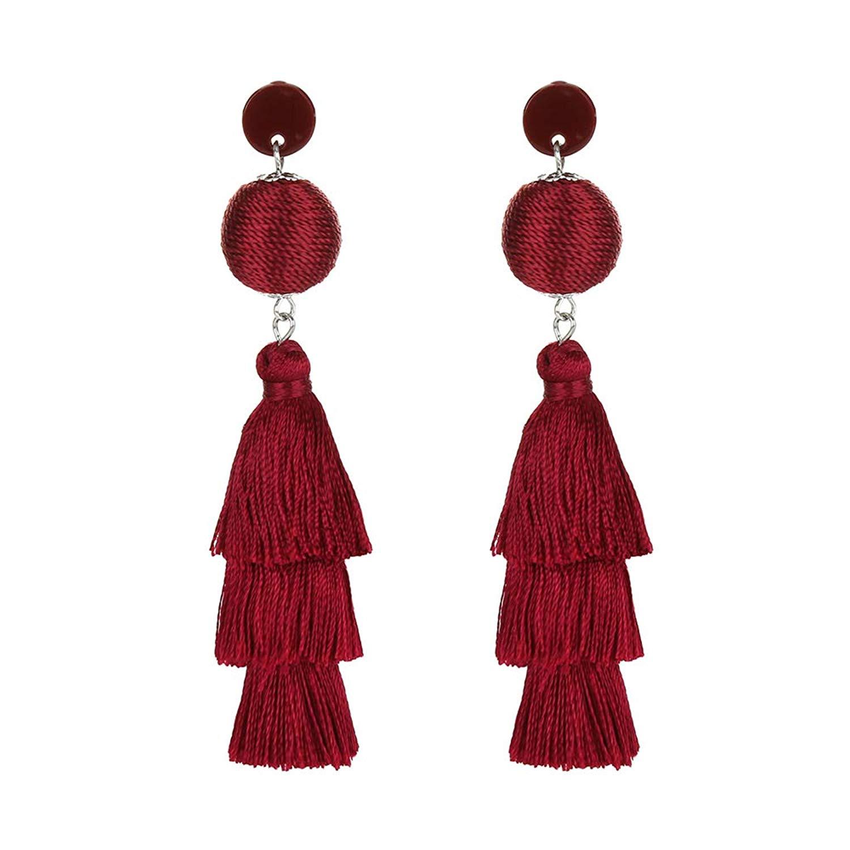 Colorful Tassel Earrings - Fashion Ball Thread Layered Tassel Chandelier Earrings, 3 Tiers Tassel Fringe Earrings, Bohemian Long Tassel Drop Dangle Earrings for Women - By LUNUBITA
