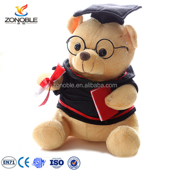 f479502d626 Factory OEM plush bear with glasses and black uniform soft stuffed plush  graduation teddy bear