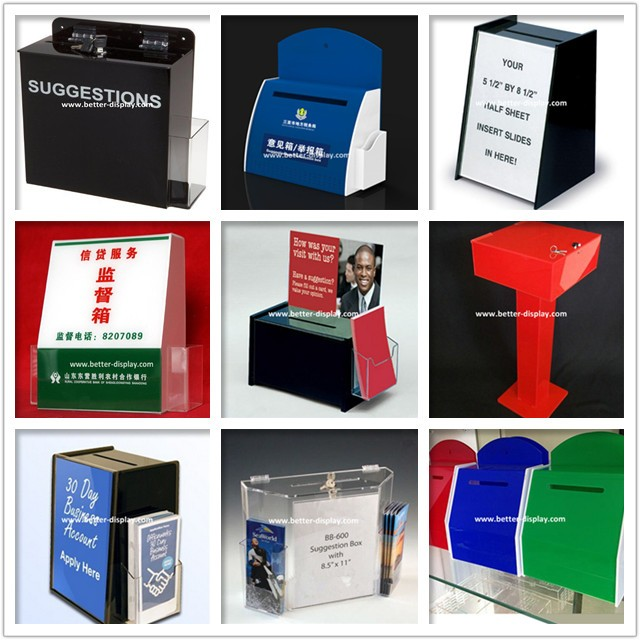 custom acrylic white acrylic suggestion box with brochure holder