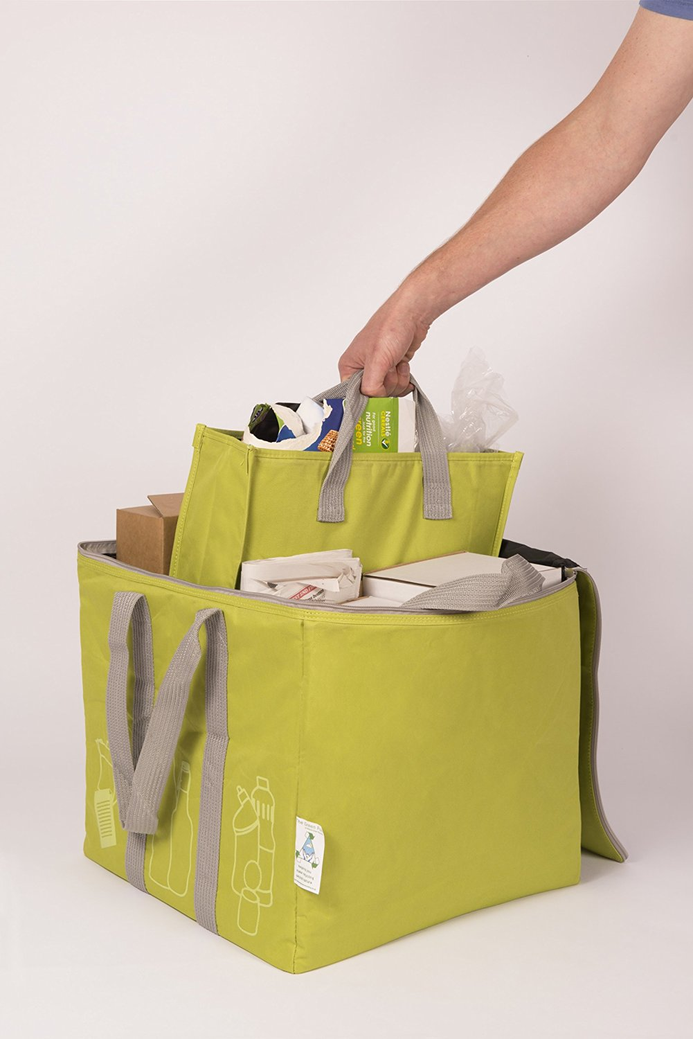 The Green Pod Recycling Bag - with removable bags inside (Green, 80 Liters)