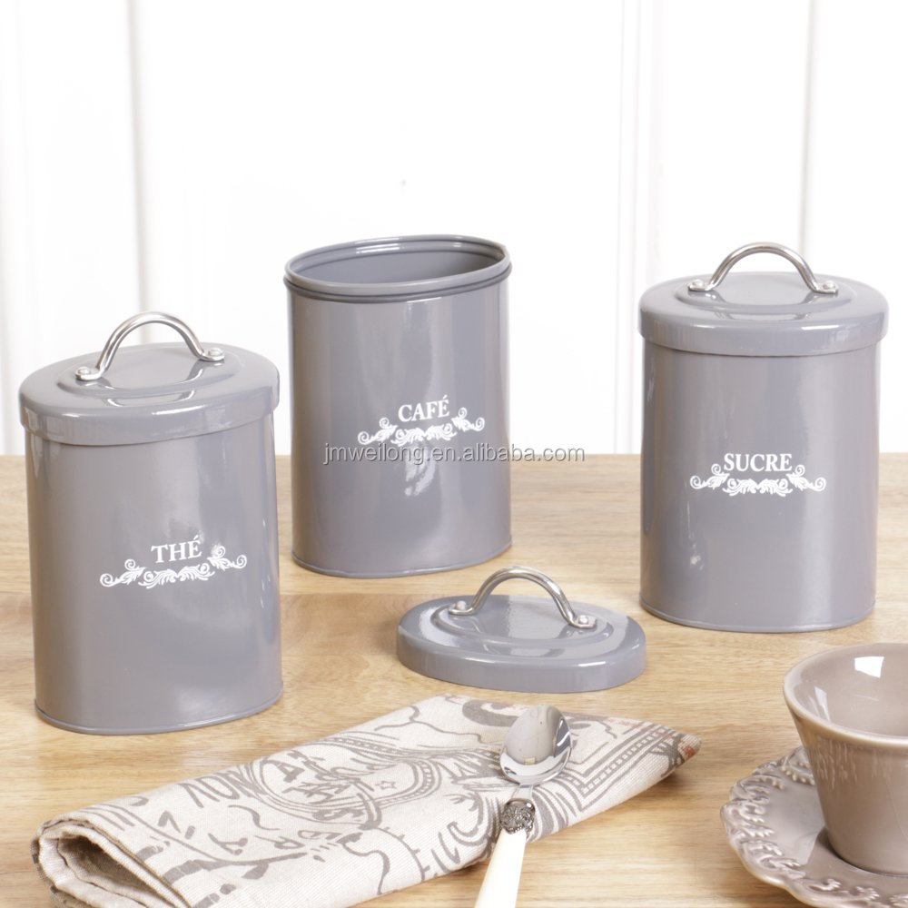 Set of 3 High-Quality Air-tight Tin Storage Canister